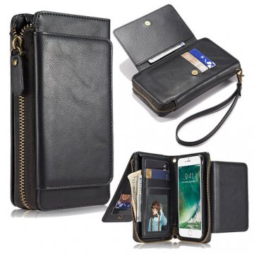 iPhone 6S/6 Wallet Detachable Magnetic Case With Wrist Strap Black