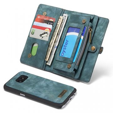 CaseMe Samsung Galaxy S7 Edge Zipper Wallet Detachable 2 in 1 Folio Case Green