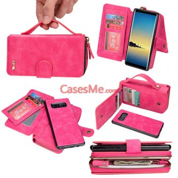 BRG Samsung Galaxy Note 8 Zipper Wallet Detachable Case Rose