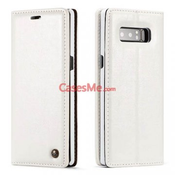 CaseMe Samsung Galaxy Note 8 Wallet Magnetic Flip Case White