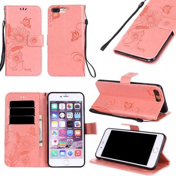 iPhone 7 Plus Wallet Embossed Ant Flower Design Stand Case Pink