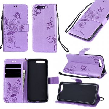 Huawei P10 Wallet Embossed Ant Flower Design Stand Case Lavender