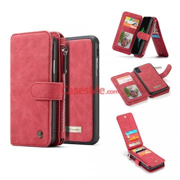 CaseMe iPhone XS Zipper Wallet Detachable Flip Case Red