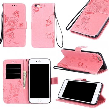 iPhone 6/6S Wallet Embossed Ant Flower Design Stand Case Pink