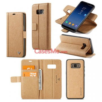 WHATIF Samsung Galaxy S8 Wallet Detachable DIY Case Brown