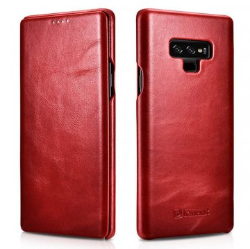 ICARER Samsung Galaxy Note 9 Curved Edge Vintage Folio Case Red