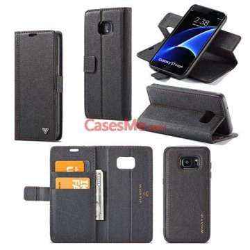 WHATIF Samsung Galaxy S7 Edge Wallet Detachable DIY Case Black
