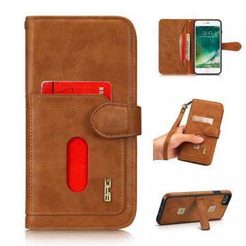 BRG iPhone 8 detachable wallet magnetic case with wrist strap Brown