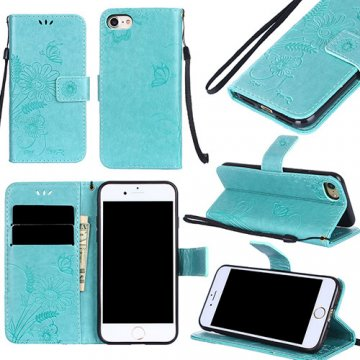 iPhone 8 Wallet Embossed Ant Flower Design Stand Case Cyan