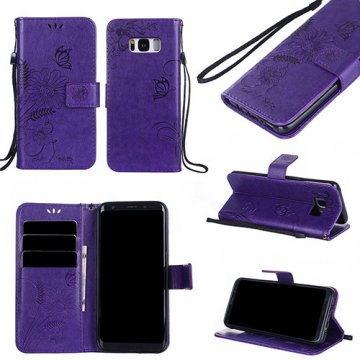 Samsung Galaxy S8 Embossed Ant Flower Design Wallet Case Purple