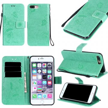 iPhone 7 Plus Wallet Embossed Ant Flower Design Stand Case Cyan