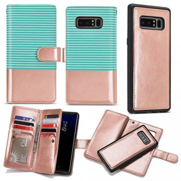 BRG Samsung Galaxy Note 8 Wallet Stripe Leather Case Green + Gold