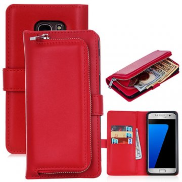 Samsung Galaxy S7 Detachable Magnetic Zipper Pocket Case Red