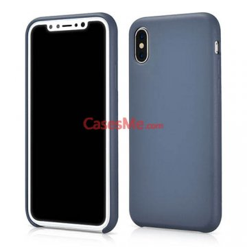 XOOMZ iPhone X Liquid Silicone Soft Back Cover Case Blue