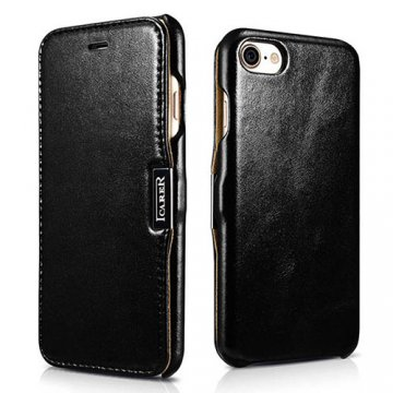 ICARER iPhone 8 Vintage Genuine Leather Case Black