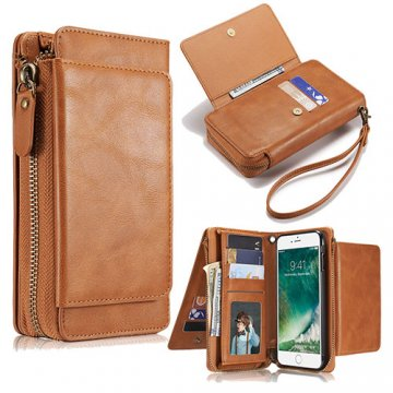 iPhone 7 Plus Wallet Detachable Magnetic Case With Wrist Strap Brown