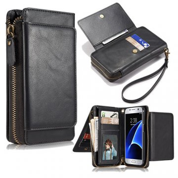 Samsung Galaxy S7 Wallet Detachable Magnetic Case With Wrist Strap Black