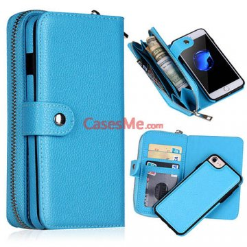 BRG iPhone 8 Litchi Pattern Zipper Wallet Detachable Case Blue