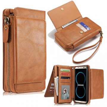 Samsung Galaxy S8 Wallet Detachable Magnetic Case With Wrist Strap Brown