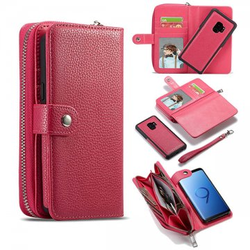 BRG Samsung Galaxy S9 Litchi Pattern Zipper Wallet Case Rose