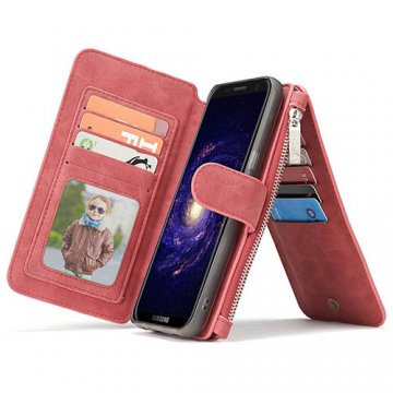 CaseMe Samsung Galaxy S8 Retro Flannelette Leather Detachable 2 in 1 Wallet Case Red