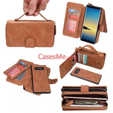 BRG Samsung Galaxy Note 8 Zipper Wallet Detachable Case Brown