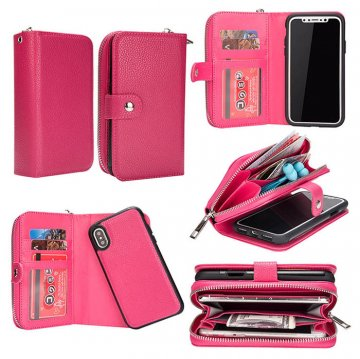 BRG iPhone Xs Wallet Magnetic 2 in 1 Litchi Texture Case Rose