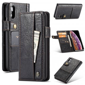 CaseMe iPhone XR Retro Card Slots Wallet Leather Case Black