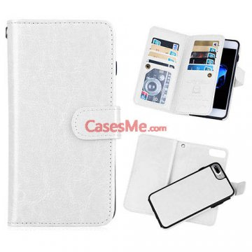 BRG iPhone 8 Plus Wallet 9 Card Slots Detachable Magnetic Case White