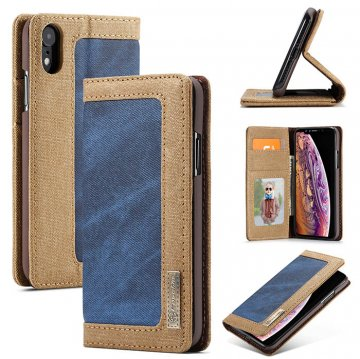 CaseMe iPhone XR Canvas Magnetic Flip Wallet Leather Case Blue