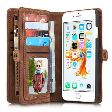 CaseMe iPhone 6S Plus/6 Plus Zipper Wallet Detachable 2 in 1 Folio Case Brown