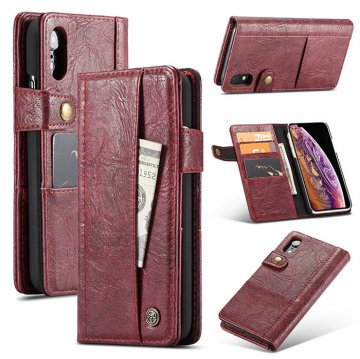 CaseMe iPhone XR Retro Card Slots Wallet Leather Case Red