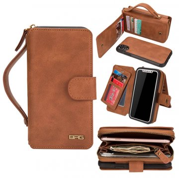 BRG iPhone XS Portable Wallet Magnetic Detachable Case Brown