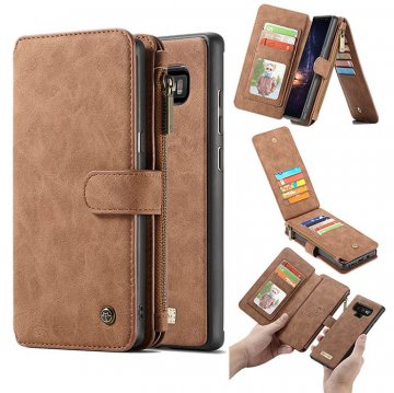 CaseMe Samsung Galaxy Note 9 Zipper Wallet 2 in 1 Case Brown