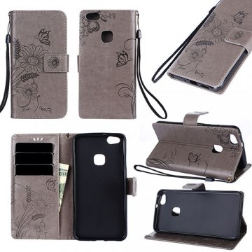 Huawei P10 Lite Wallet Embossed Ant Flower Design Stand Case Grey