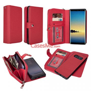 BRG Samsung Galaxy Note 8 Zipper Wallet Litchi Pattern Case Red