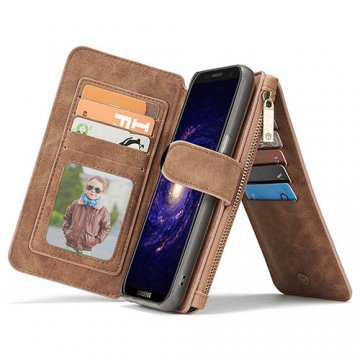 CaseMe Samsung Galaxy S9 Zipper Wallet Detachable Case Brown