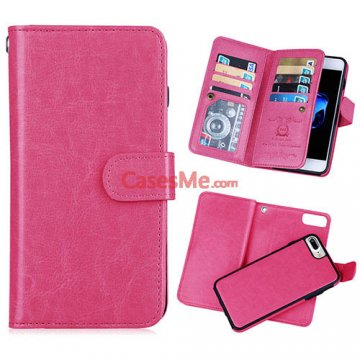 BRG iPhone 8 Plus Wallet 9 Card Slots Detachable Magnetic Case Rose
