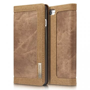 CaseMe iPhone 8 Plus Canvas Wallet Leather Case Brown