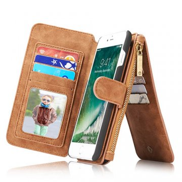 CaseMe 007 iPhone 7 Plus Retro Flannelette Leather Detachable 2 in 1 Wallet Case Brown