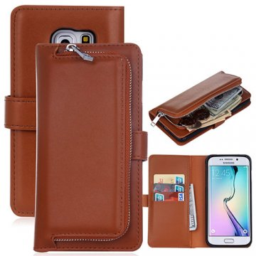 Samsung Galaxy S6 Edge Detachable Magnetic Zipper Pocket Case Brown