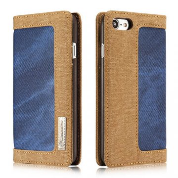 CaseMe iPhone 7 Canvas Wallet PU Leather Stand Case Blue