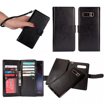 BRG Samsung Galaxy Note 8 Detachable Wallet Magnetic Case Black