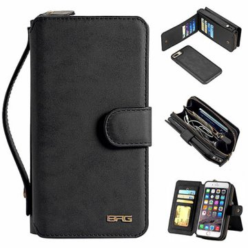 BRG iPhone 7 Plus Zipper Wallet Magnetic Detachable Flip Case