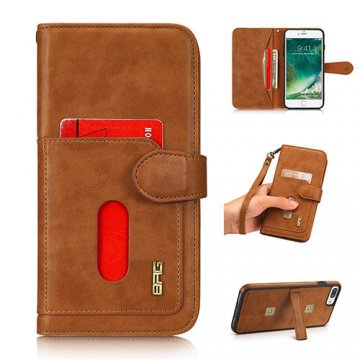 BRG iPhone 8 Plus wallet 2 in 1 magnetic case with wrist strap Brown