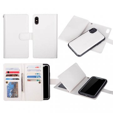 BRG iPhone X Wallet 9 Slot Cards Detachable Magnetic Case White
