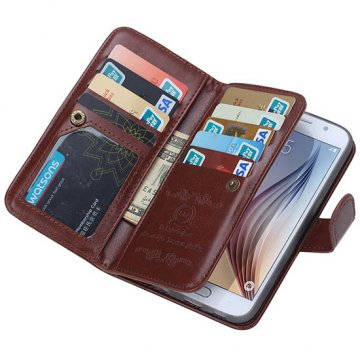 BRG Samsung Galaxy S6 Case 9 Card Slot 2 in 1 Detachable Magnetic Wallet Case Cover