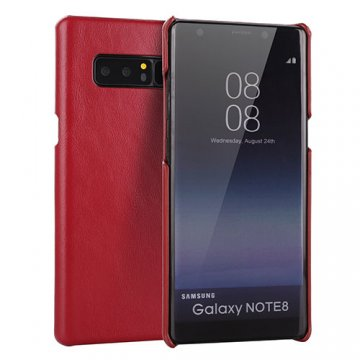 Samsung Galaxy Note 8 Genuine Leather Matte Back Cover Case Red