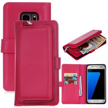 Samsung Galaxy S7 Detachable Magnetic Zipper Pocket Case Rose