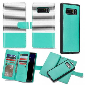 BRG Samsung Galaxy Note 8 Wallet Stripe Leather Case White + Green